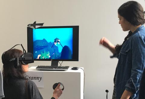 Students working with VR
